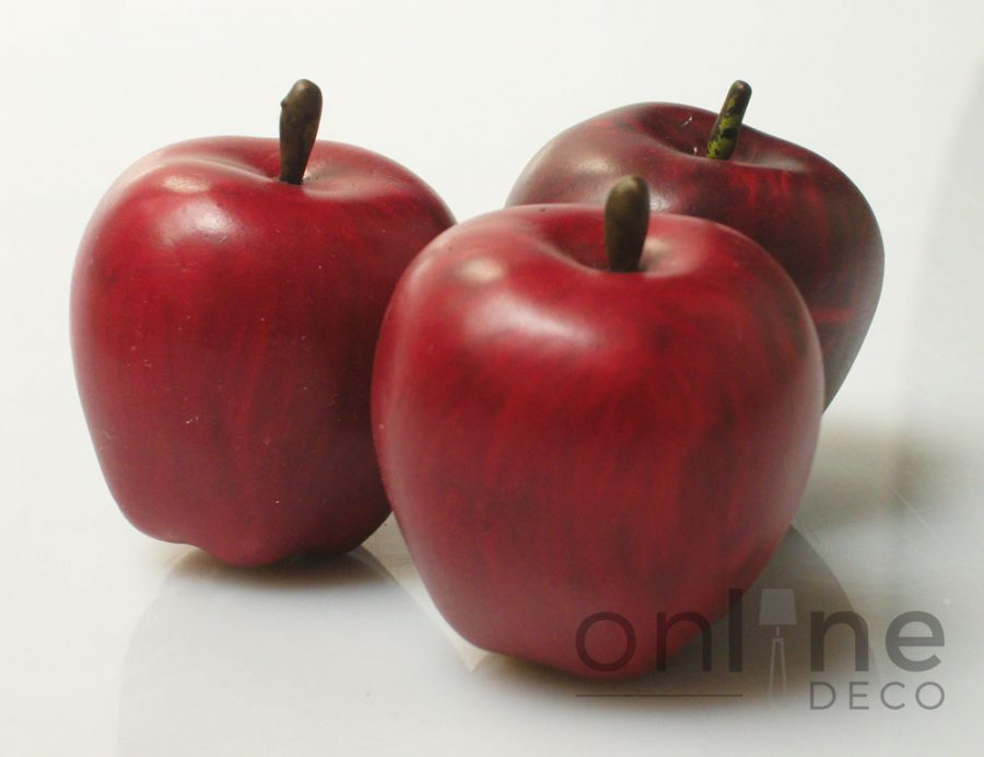Fruta Manzana Mini decorativa color rojo – Estuche x 12