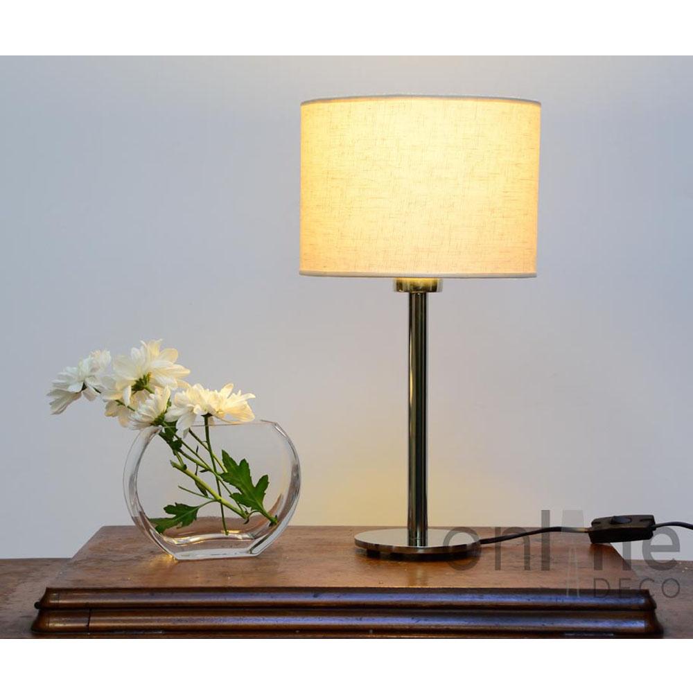 L mpara de mesa recta pie metal pantalla lino online deco - Lampara de pie con mesa ...